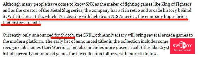 SNK40周年之际 将在Switch推出拳皇等经典游戏