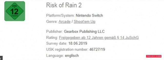 Switch版《雨中冒险2》通过德国官方评级发售日未确定