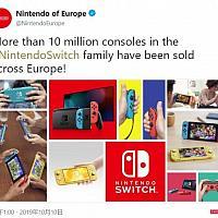 任天堂欧洲发推庆祝Switch销量超1千万