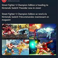 零售商泄露《街霸V:冠军版》将发售Switch版