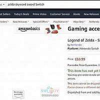 英国亚马逊出现Switch《塞尔达传说:天空之剑》占位预售页面