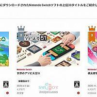 任天堂官方公布2020年日服Switch下载排行榜