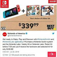 任天堂公布Switch套装:Switch主机+Labo玩具售339.99美元