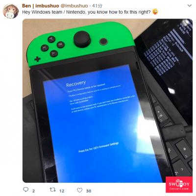 怕是要玩坏 Switch开始跑WIN10并成功蓝屏