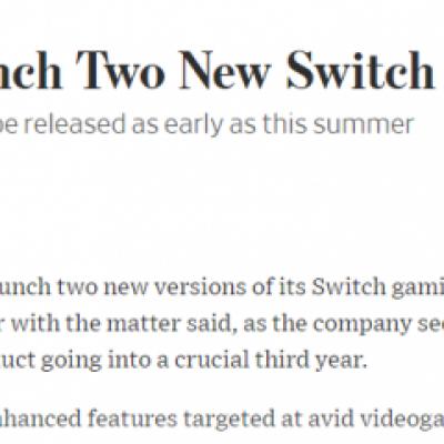 任天堂今夏将推两款全新型号Switch主机