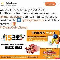 庆祝下载量破百万QubicGames免费送Switch游戏