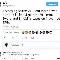 Switch《精灵宝可梦:剑/盾》发售日期疑泄露